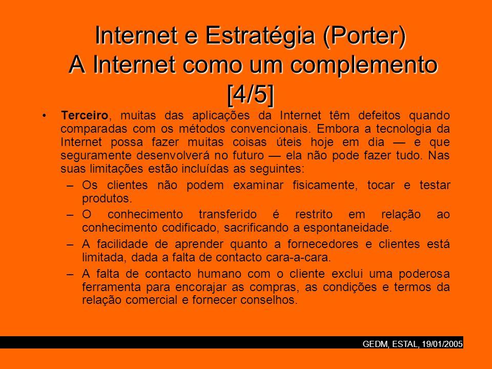 Internet e Estratégia (Porter) A Internet como um complemento [4/5]
